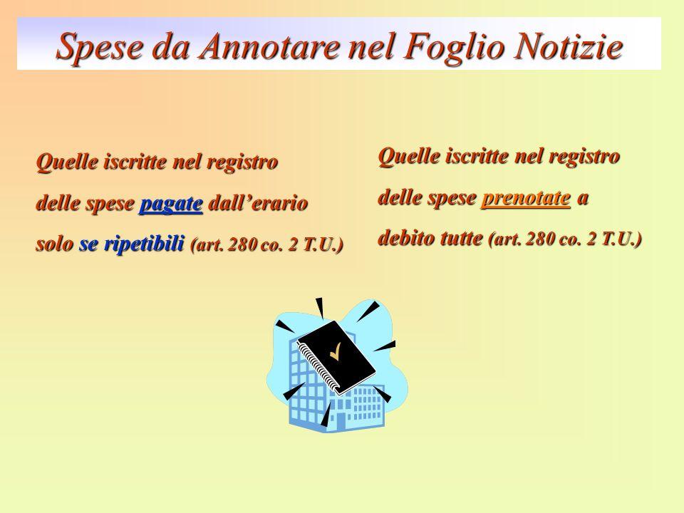 Spese da Annotare nel Foglio Notizie Quelle iscritte nel registro delle spese pagate dallerario solo se ripetibili (art. 280 co. 2 T.U.) Quelle iscrit