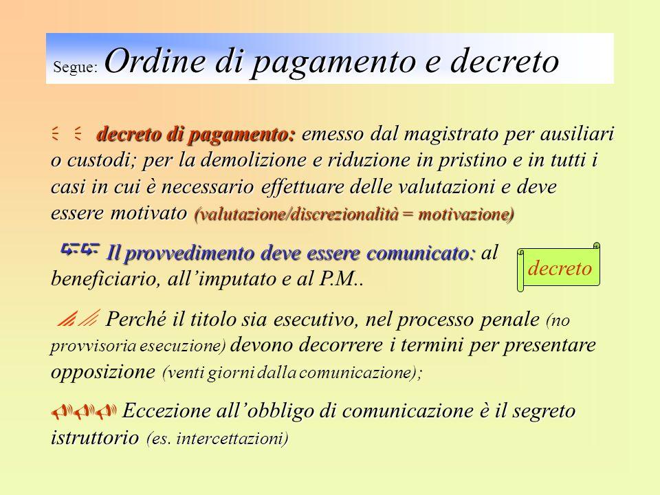 decreto di pagamento: emesso dal magistrato per ausiliari o custodi; per la demolizione e riduzione in pristino e in tutti i casi in cui è necessario