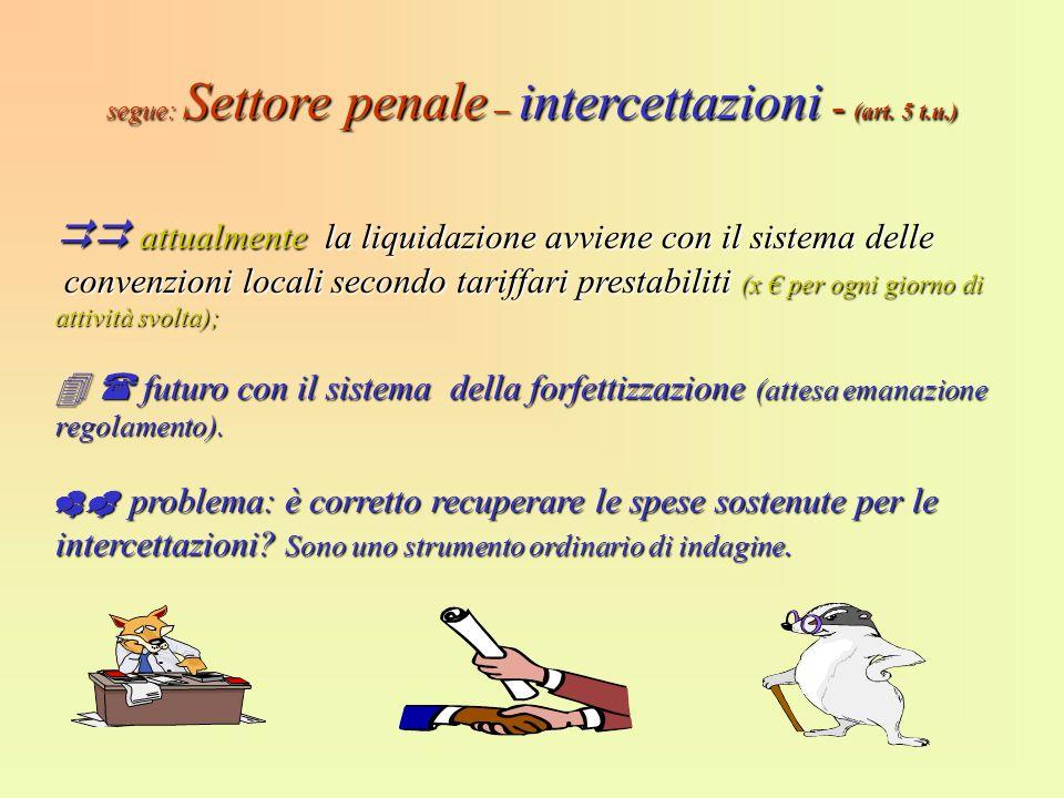 segue: Settore penale – intercettazioni - (art. 5 t.u.) attualmente la liquidazione avviene con il sistema delle attualmente la liquidazione avviene c