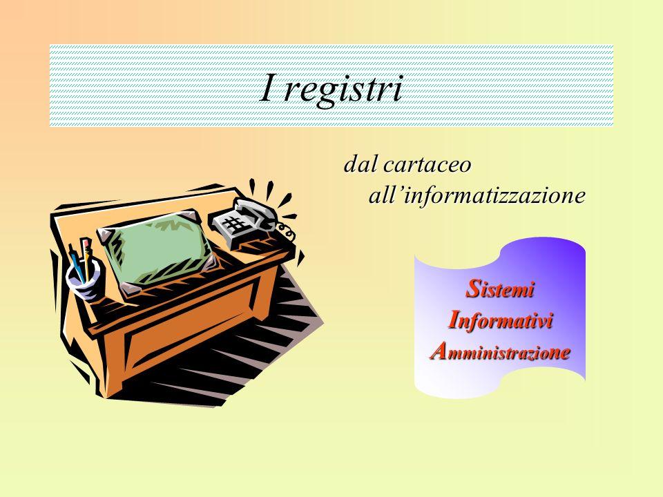 I registri dal cartaceo allinformatizzazione S istemi I nformativi A mministrazio ne
