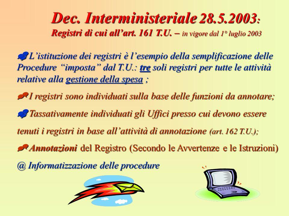 Dec. Interministeriale 28.5.2003 : Registri di cui allart. 161 T.U. – in vigore dal 1° luglio 2003 Listituzione dei registri è lesempio della semplifi