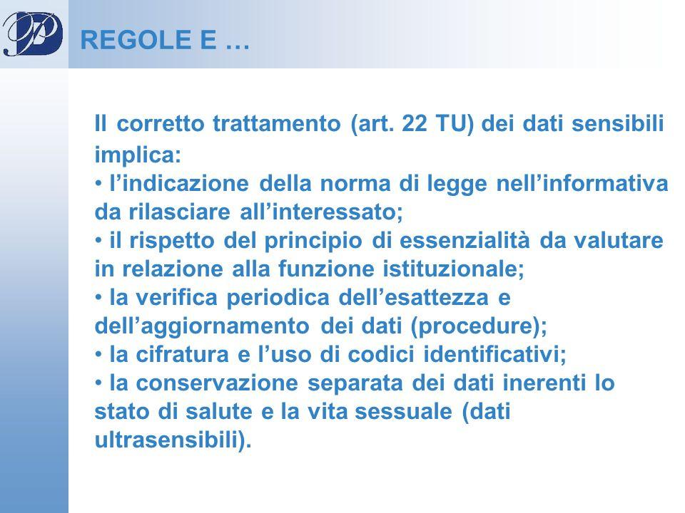 Il corretto trattamento (art. 22 TU) dei dati sensibili implica: lindicazione della norma di legge nellinformativa da rilasciare allinteressato; il ri
