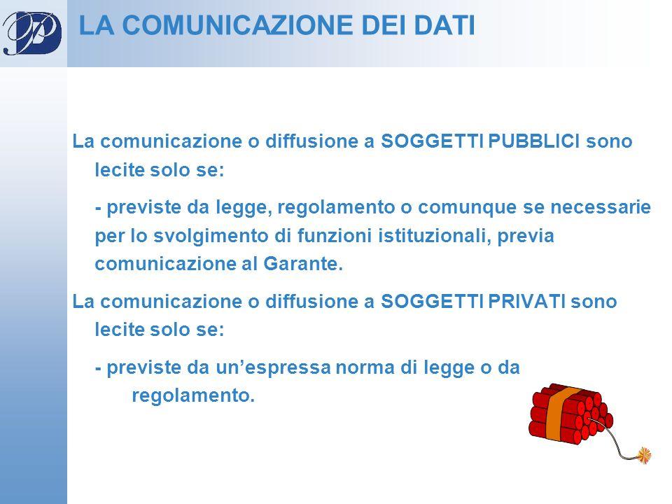 La comunicazione o diffusione a SOGGETTI PUBBLICI sono lecite solo se: - previste da legge, regolamento o comunque se necessarie per lo svolgimento di