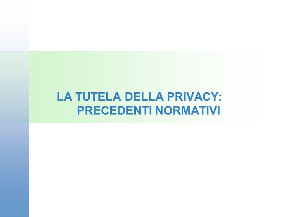 LA TUTELA DELLA PRIVACY: PRECEDENTI NORMATIVI