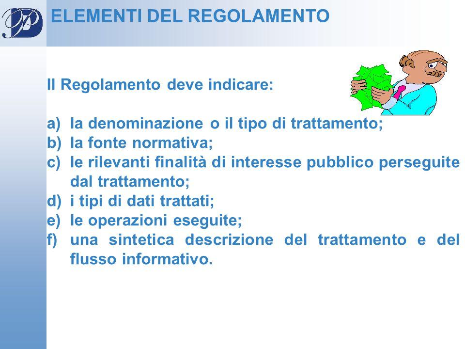 Il Regolamento deve indicare: a)la denominazione o il tipo di trattamento; b)la fonte normativa; c)le rilevanti finalità di interesse pubblico persegu