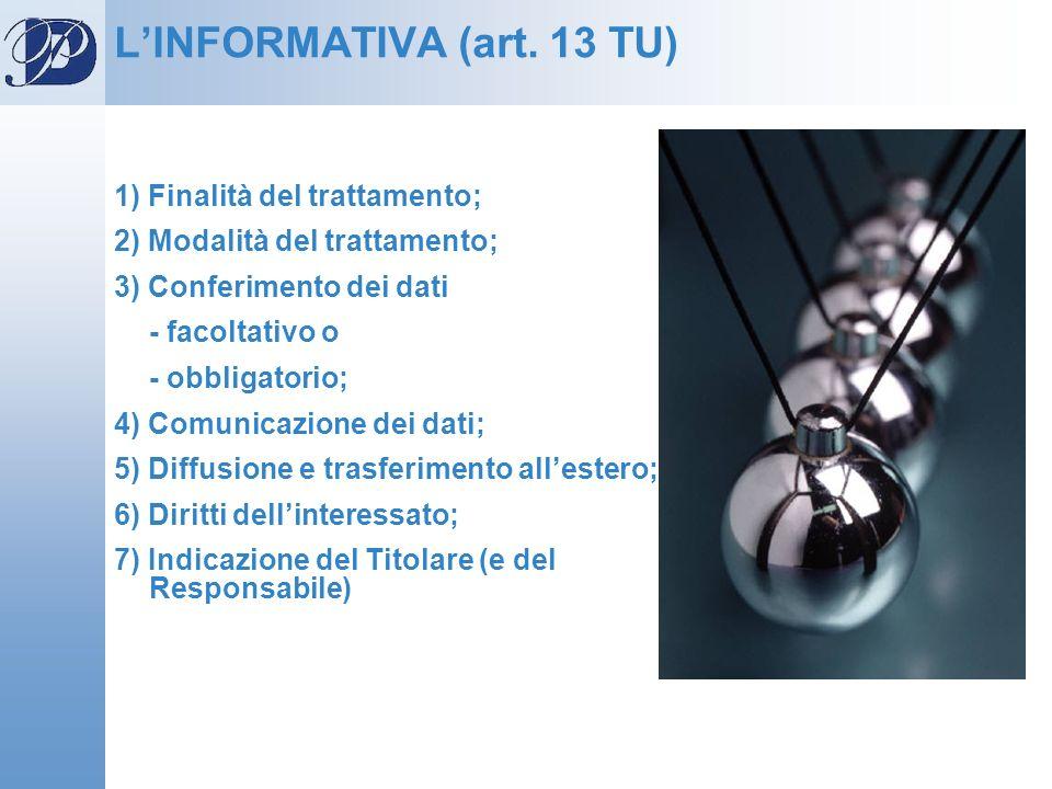 LINFORMATIVA (art. 13 TU) 1) Finalità del trattamento; 2) Modalità del trattamento; 3) Conferimento dei dati - facoltativo o - obbligatorio; 4) Comuni
