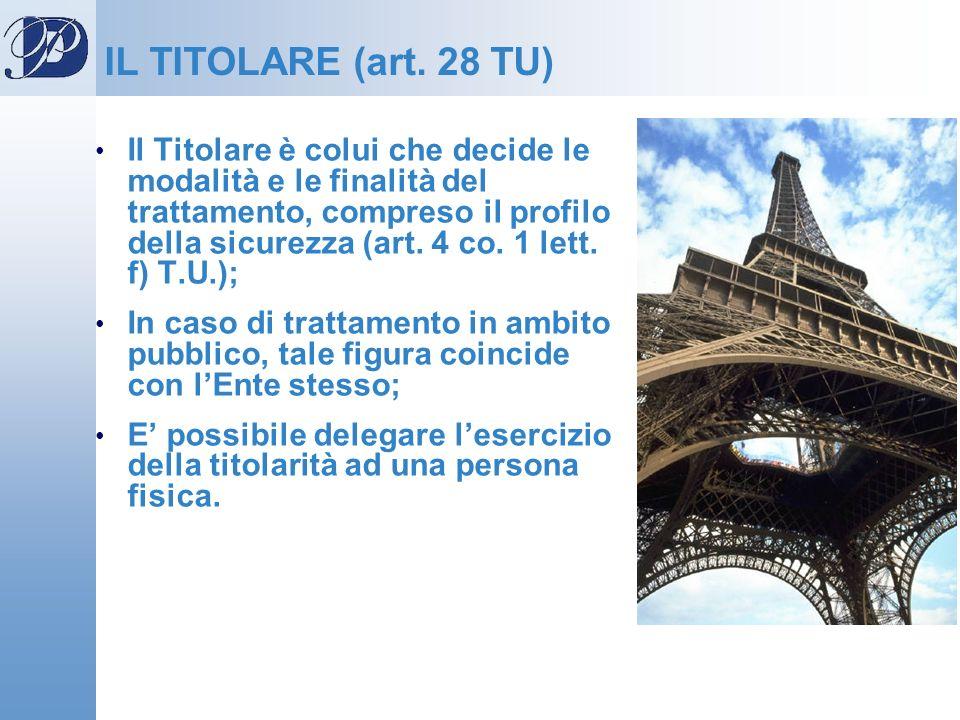 IL TITOLARE (art. 28 TU) Il Titolare è colui che decide le modalità e le finalità del trattamento, compreso il profilo della sicurezza (art. 4 co. 1 l