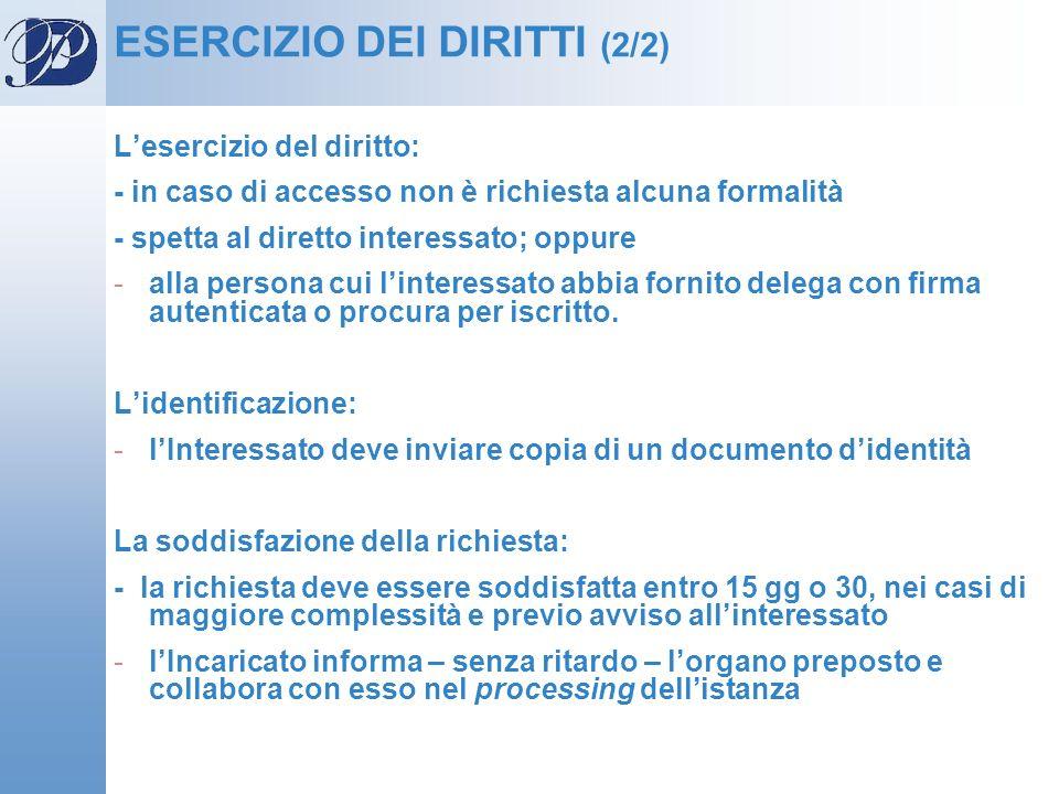 ESERCIZIO DEI DIRITTI (2/2) Lesercizio del diritto: - in caso di accesso non è richiesta alcuna formalità - spetta al diretto interessato; oppure -all