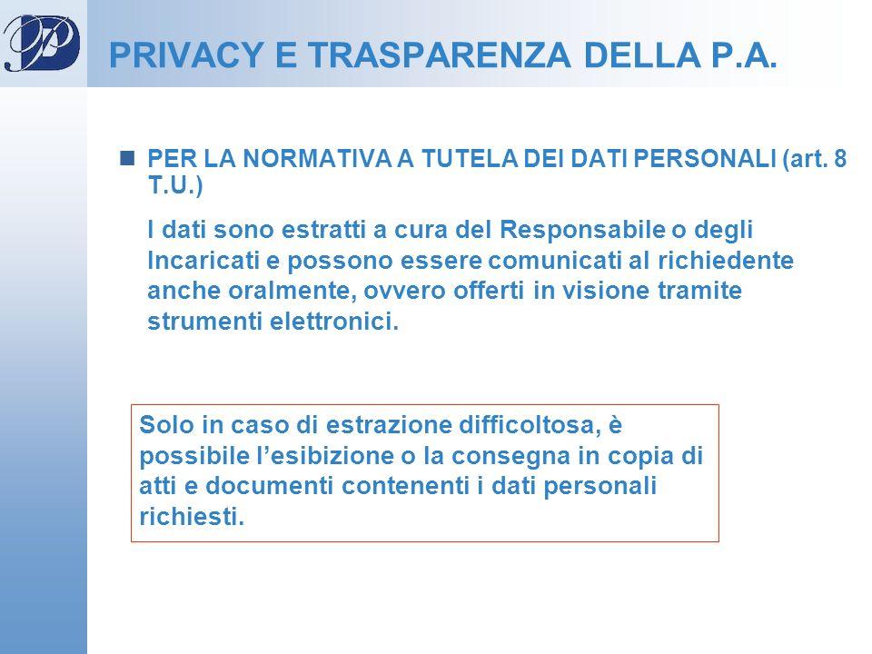 PER LA NORMATIVA A TUTELA DEI DATI PERSONALI (art. 8 T.U.) I dati sono estratti a cura del Responsabile o degli Incaricati e possono essere comunicati