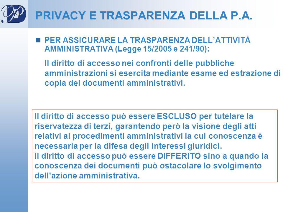 PER ASSICURARE LA TRASPARENZA DELLATTIVITÀ AMMINISTRATIVA (Legge 15/2005 e 241/90): Il diritto di accesso nei confronti delle pubbliche amministrazion
