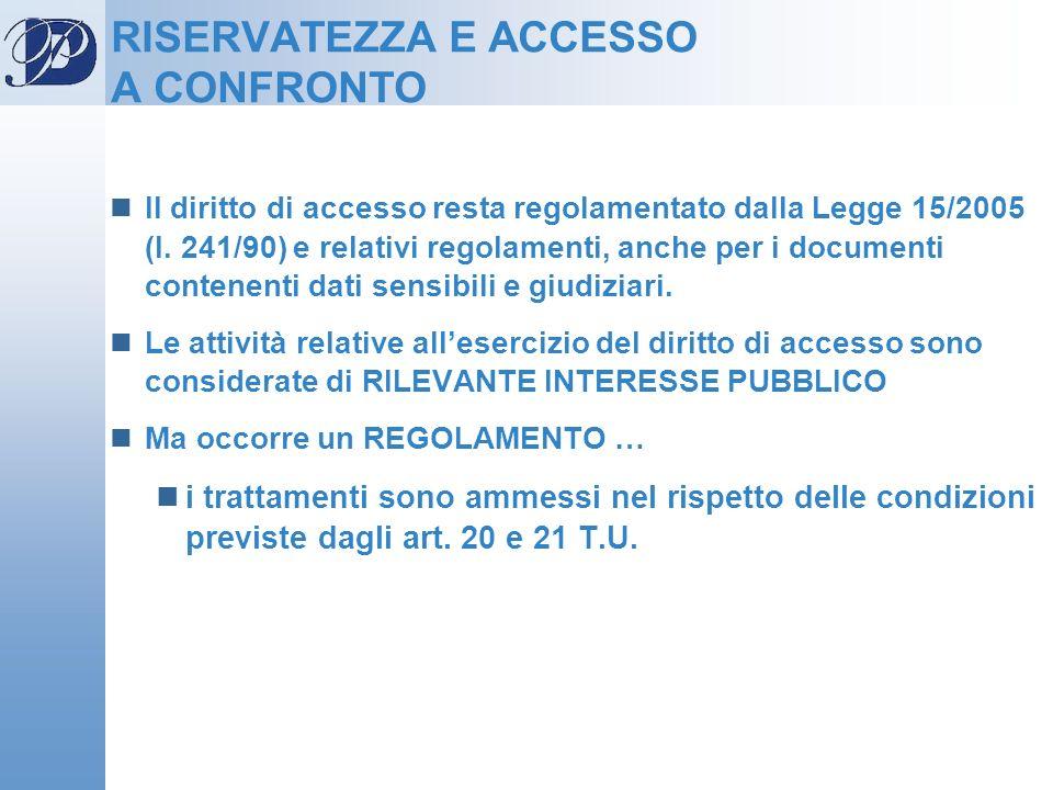 RISERVATEZZA E ACCESSO A CONFRONTO Il diritto di accesso resta regolamentato dalla Legge 15/2005 (l. 241/90) e relativi regolamenti, anche per i docum