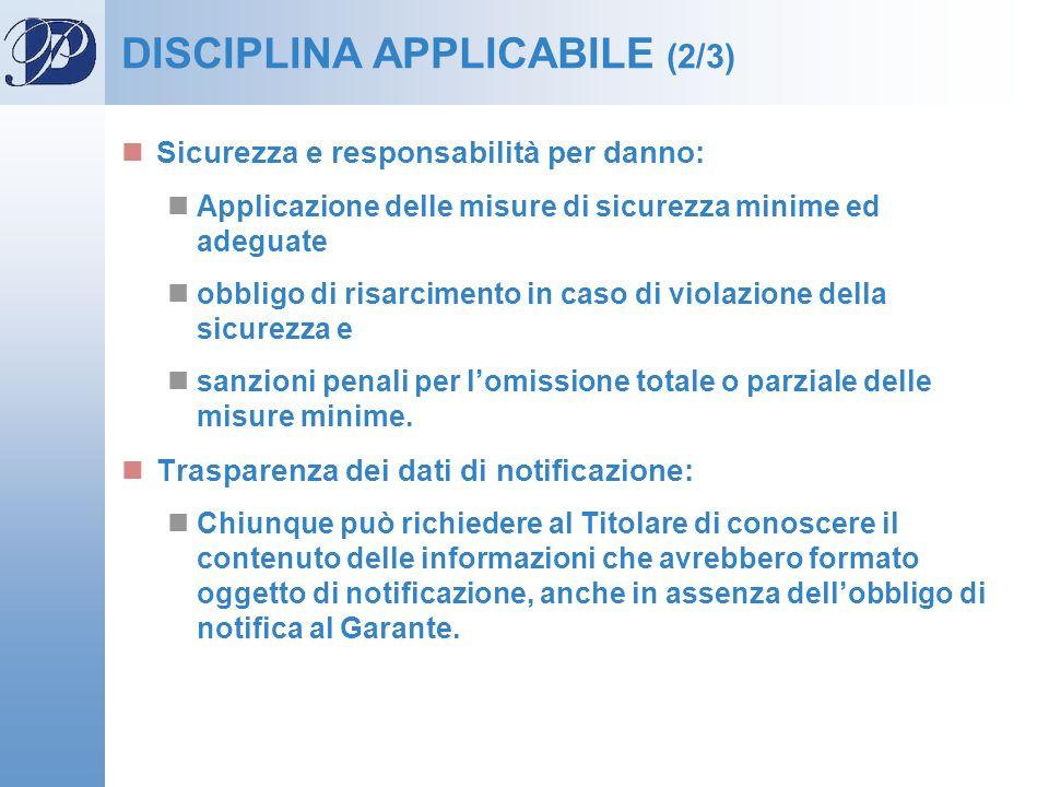 DISCIPLINA APPLICABILE (2/3) Sicurezza e responsabilità per danno: Applicazione delle misure di sicurezza minime ed adeguate obbligo di risarcimento i