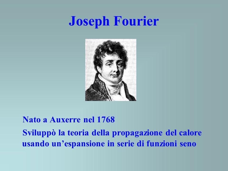 Joseph Fourier Nato a Auxerre nel 1768 Sviluppò la teoria della propagazione del calore usando unespansione in serie di funzioni seno