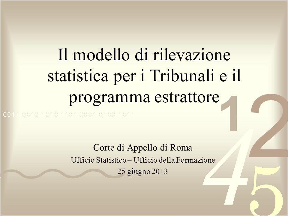 Il modello di rilevazione statistica per i Tribunali e il programma estrattore Corte di Appello di Roma Ufficio Statistico – Ufficio della Formazione