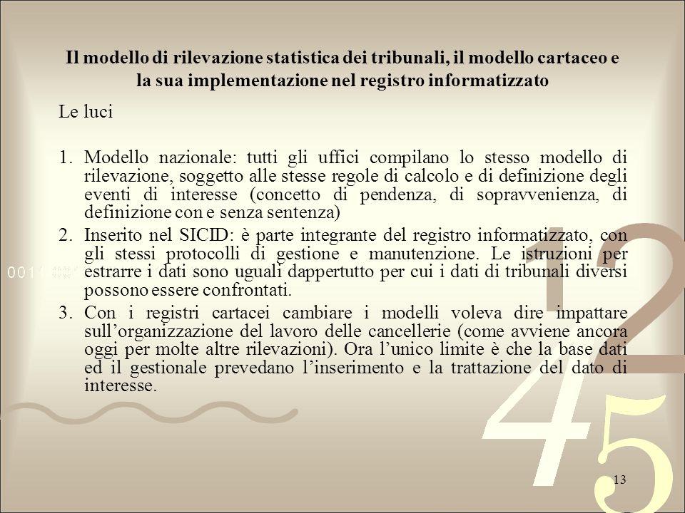 Il modello di rilevazione statistica dei tribunali, il modello cartaceo e la sua implementazione nel registro informatizzato Le luci 1.Modello naziona