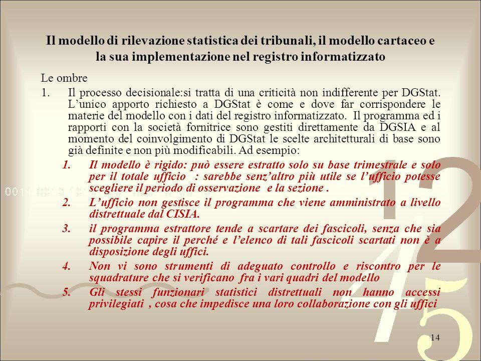 Il modello di rilevazione statistica dei tribunali, il modello cartaceo e la sua implementazione nel registro informatizzato Le ombre 1.Il processo de