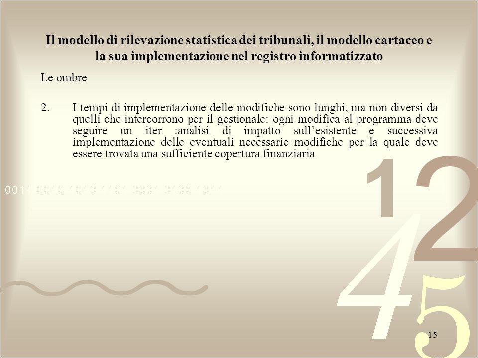 Il modello di rilevazione statistica dei tribunali, il modello cartaceo e la sua implementazione nel registro informatizzato Le ombre 2.I tempi di imp