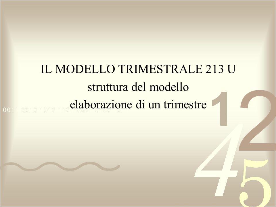 IL MODELLO TRIMESTRALE 213 U struttura del modello elaborazione di un trimestre