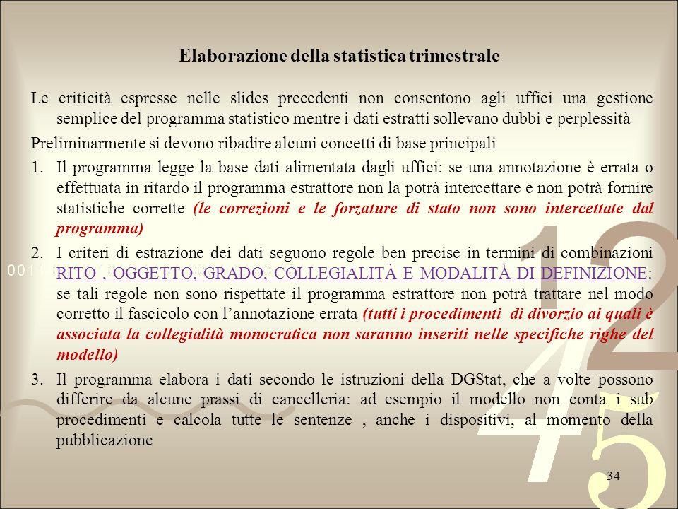 Elaborazione della statistica trimestrale Le criticità espresse nelle slides precedenti non consentono agli uffici una gestione semplice del programma