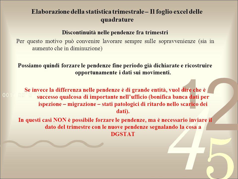 Elaborazione della statistica trimestrale – Il foglio excel delle quadrature Discontinuità nelle pendenze fra trimestri Per questo motivo può convenir