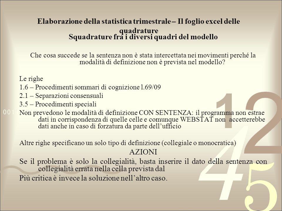 Elaborazione della statistica trimestrale – Il foglio excel delle quadrature Squadrature fra i diversi quadri del modello Che cosa succede se la sente