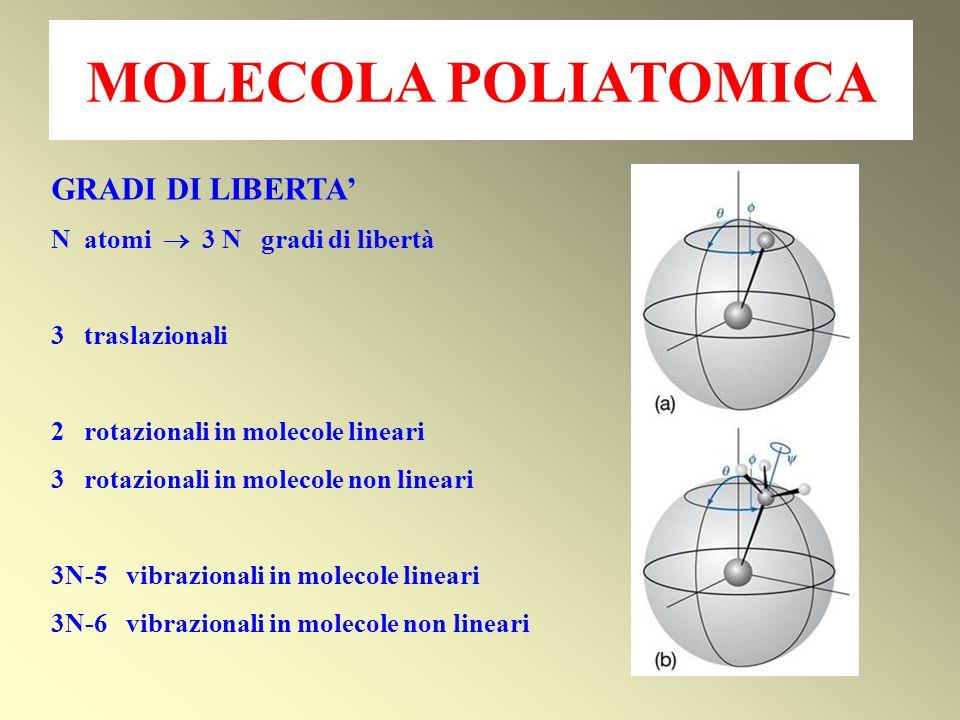 GRADI DI LIBERTA N atomi 3 N gradi di libertà 3 traslazionali 2 rotazionali in molecole lineari 3 rotazionali in molecole non lineari 3N-5 vibrazional
