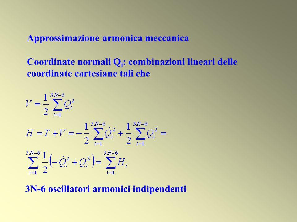 Approssimazione armonica meccanica Coordinate normali Q i : combinazioni lineari delle coordinate cartesiane tali che 3N-6 oscillatori armonici indipe