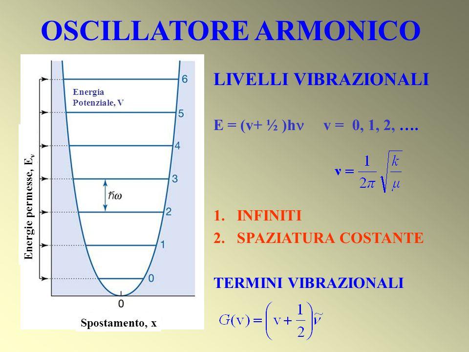 Spostamento, x Energia Potenziale, V Energie permesse, E v LIVELLI VIBRAZIONALI E = (v+ ½ )h v = 0, 1, 2, …. 1.INFINITI 2.SPAZIATURA COSTANTE TERMINI