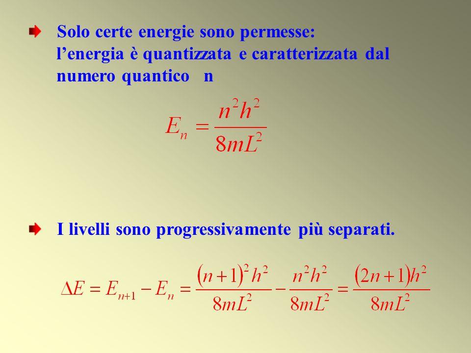Solo certe energie sono permesse: lenergia è quantizzata e caratterizzata dal numero quantico n I livelli sono progressivamente più separati.