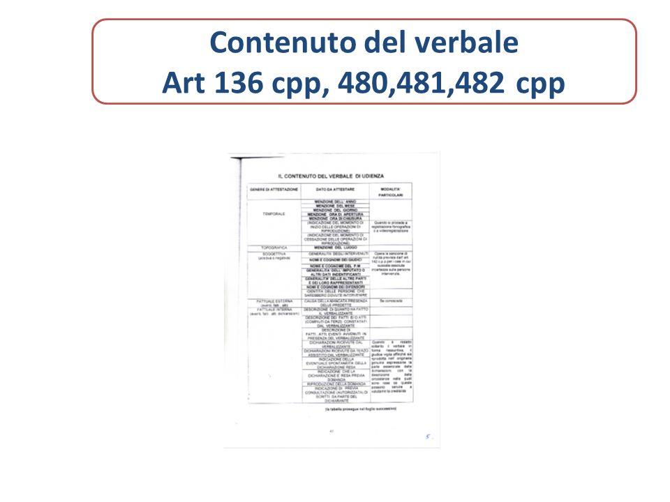 Contenuto del verbale Art 136 cpp, 480,481,482 cpp