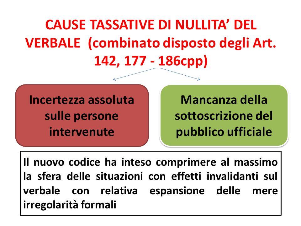 CAUSE TASSATIVE DI NULLITA DEL VERBALE (combinato disposto degli Art. 142, 177 - 186cpp) Incertezza assoluta sulle persone intervenute Mancanza della