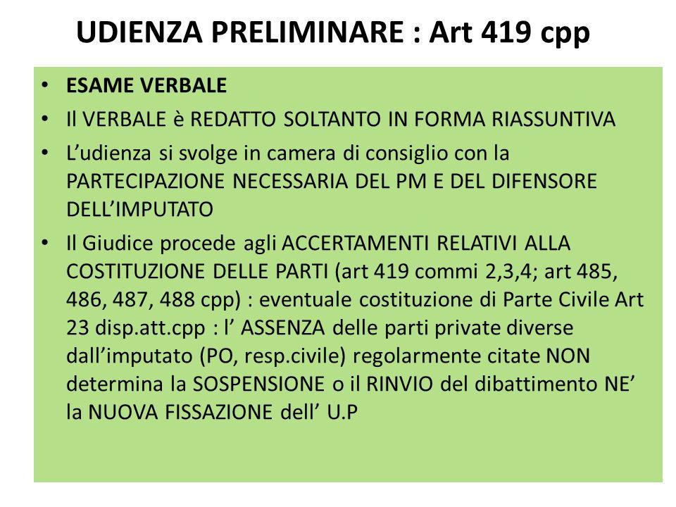 UDIENZA PRELIMINARE : Art 419 cpp ESAME VERBALE Il VERBALE è REDATTO SOLTANTO IN FORMA RIASSUNTIVA Ludienza si svolge in camera di consiglio con la PA