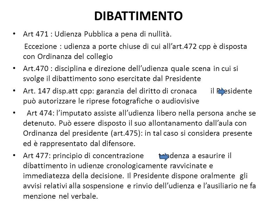 DIBATTIMENTO Art 471 : Udienza Pubblica a pena di nullità. Eccezione : udienza a porte chiuse di cui allart.472 cpp è disposta con Ordinanza del colle