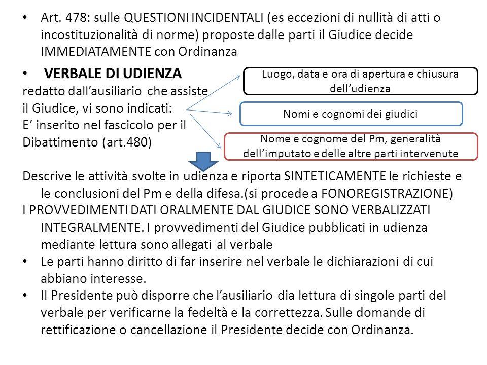 Art. 478: sulle QUESTIONI INCIDENTALI (es eccezioni di nullità di atti o incostituzionalità di norme) proposte dalle parti il Giudice decide IMMEDIATA