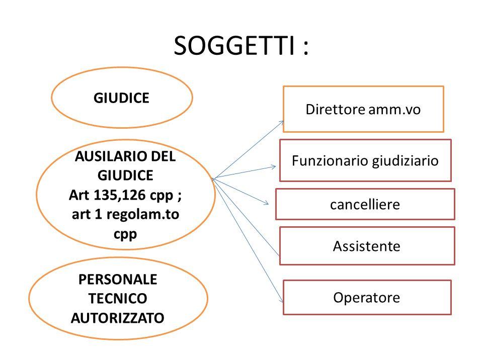 SOGGETTI : GIUDICE AUSILARIO DEL GIUDICE Art 135,126 cpp ; art 1 regolam.to cpp PERSONALE TECNICO AUTORIZZATO Direttore amm.vo Funzionario giudiziario