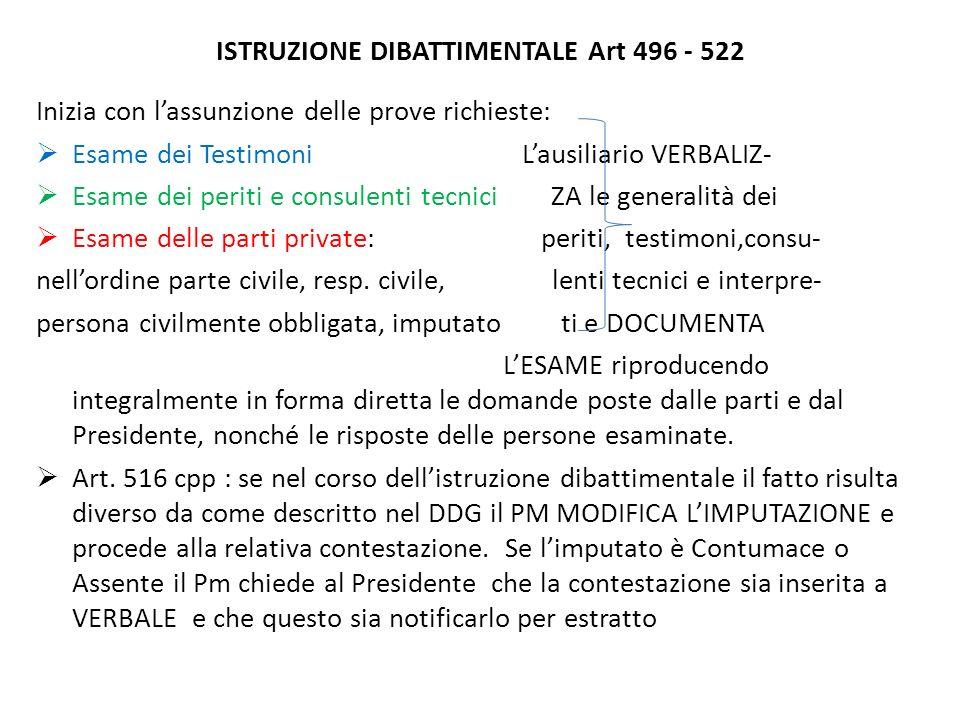 ISTRUZIONE DIBATTIMENTALE Art 496 - 522 Inizia con lassunzione delle prove richieste: Esame dei Testimoni Lausiliario VERBALIZ- Esame dei periti e con