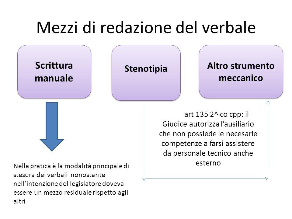 Mezzi di redazione del verbale Scrittura manuale Stenotipia Altro strumento meccanico Nella pratica è la modalità principale di stesura dei verbali no