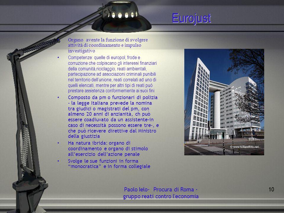 Eurojust Organo avente la funzione di svolgere attività di coordinamento e impulso investigativo Competenze: quelle di europol, frode e corruzione che