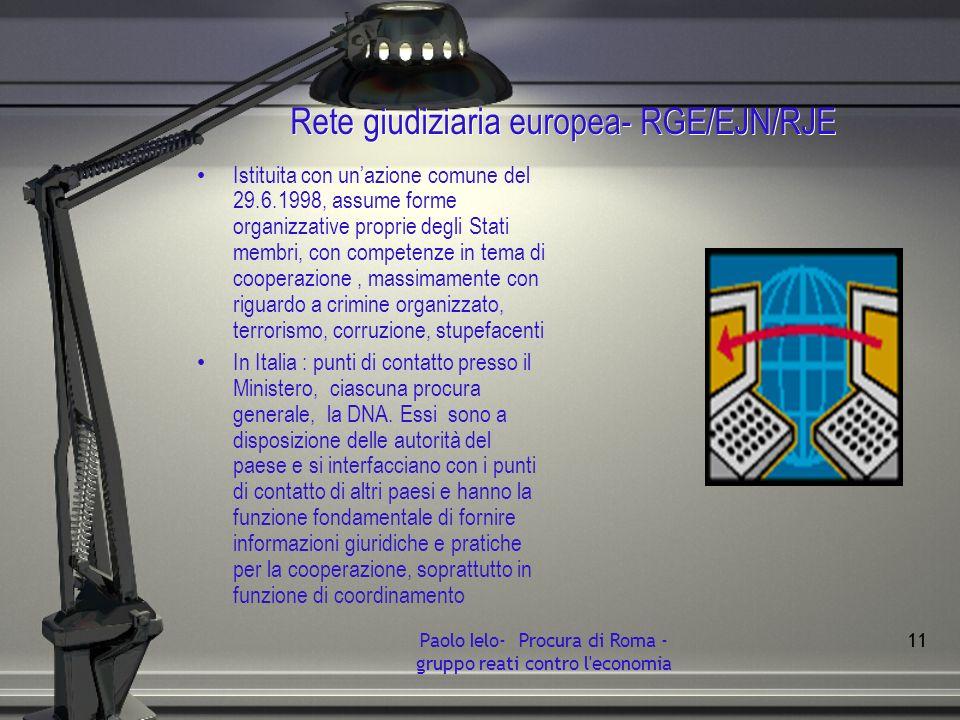 Rete giudiziaria europea- RGE/EJN/RJE Istituita con unazione comune del 29.6.1998, assume forme organizzative proprie degli Stati membri, con competen