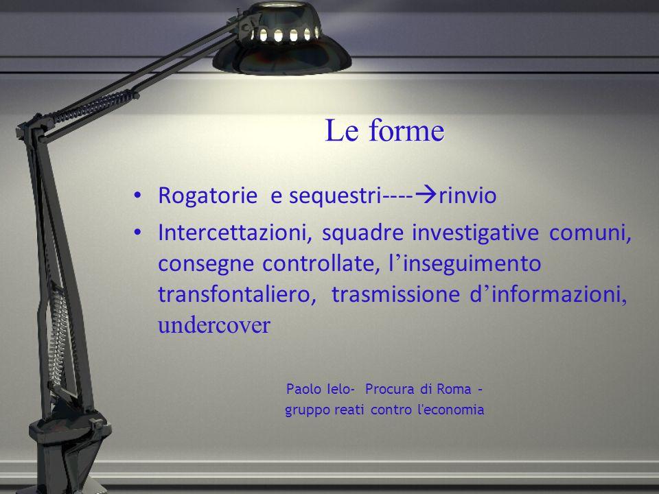 Le forme Rogatorie e sequestri---- rinvio Intercettazioni, squadre investigative comuni, consegne controllate, l inseguimento transfontaliero, trasmis