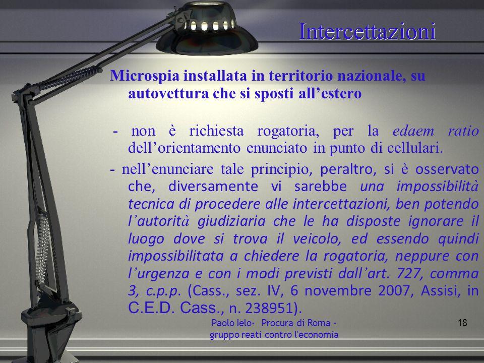 Intercettazioni Microspia installata in territorio nazionale, su autovettura che si sposti allestero - non è richiesta rogatoria, per la edaem ratio d