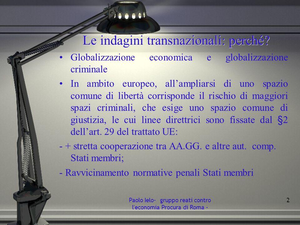Le indagini transnazionali: perché? Globalizzazione economica e globalizzazione criminale In ambito europeo, allampliarsi di uno spazio comune di libe