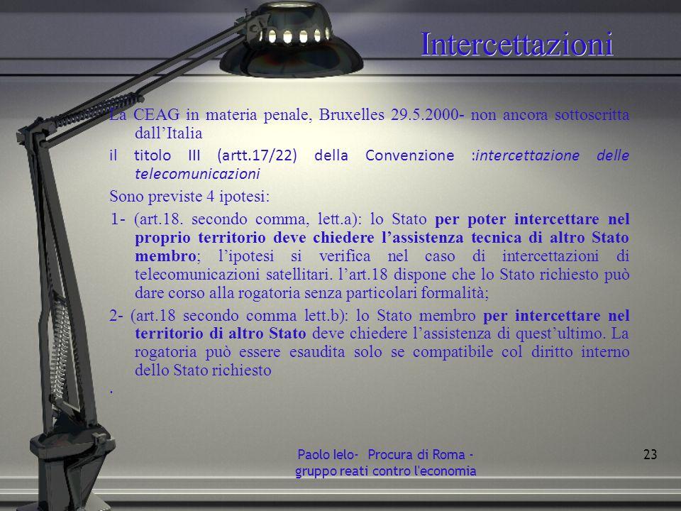 Intercettazioni La CEAG in materia penale, Bruxelles 29.5.2000- non ancora sottoscritta dallItalia il titolo III (artt.17/22) della Convenzione :inter