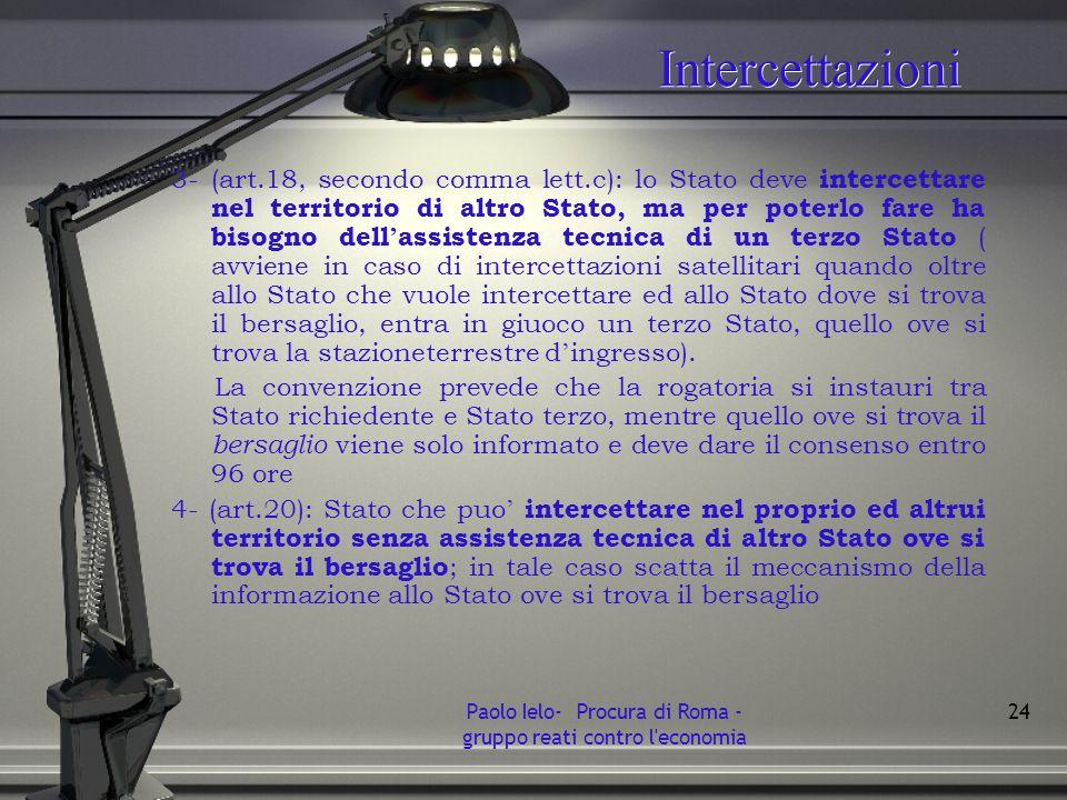 Intercettazioni 3- (art.18, secondo comma lett.c): lo Stato deve intercettare nel territorio di altro Stato, ma per poterlo fare ha bisogno dell assis