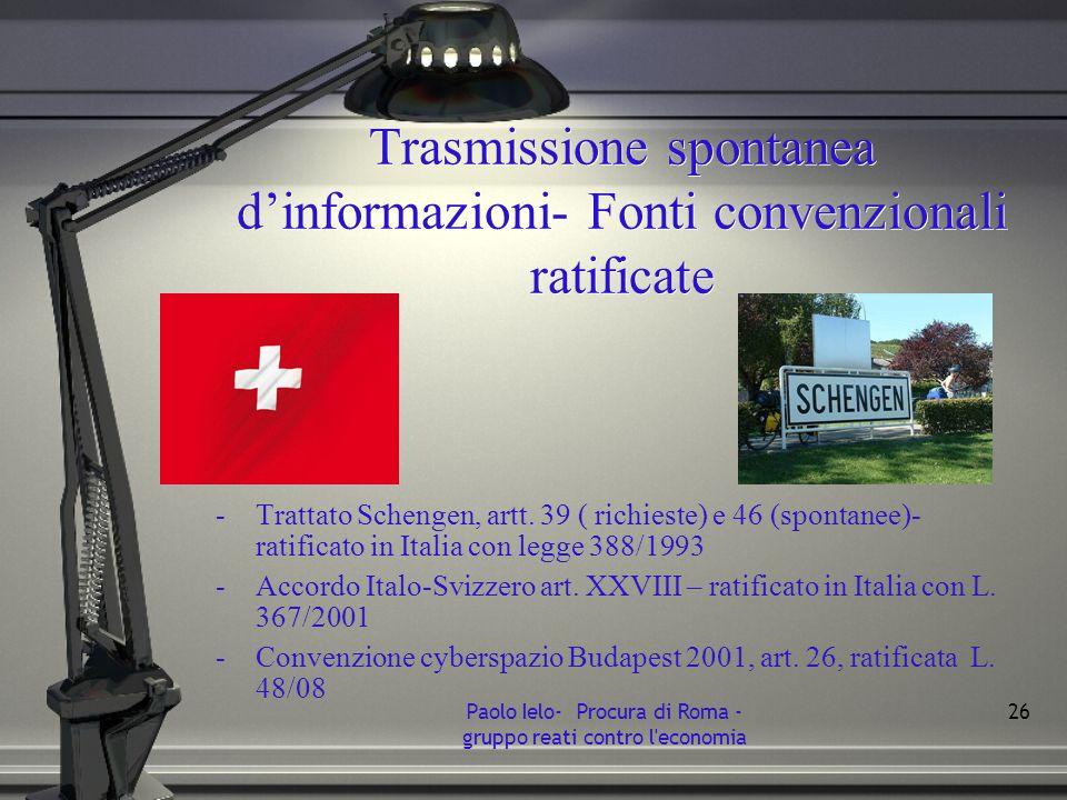 Trasmissione spontanea dinformazioni- Fonti convenzionali ratificate -Trattato Schengen, artt. 39 ( richieste) e 46 (spontanee)- ratificato in Italia