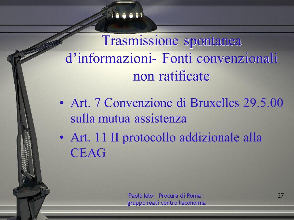 Trasmissione spontanea dinformazioni- Fonti convenzionali non ratificate Art. 7 Convenzione di Bruxelles 29.5.00 sulla mutua assistenza Art. 11 II pro