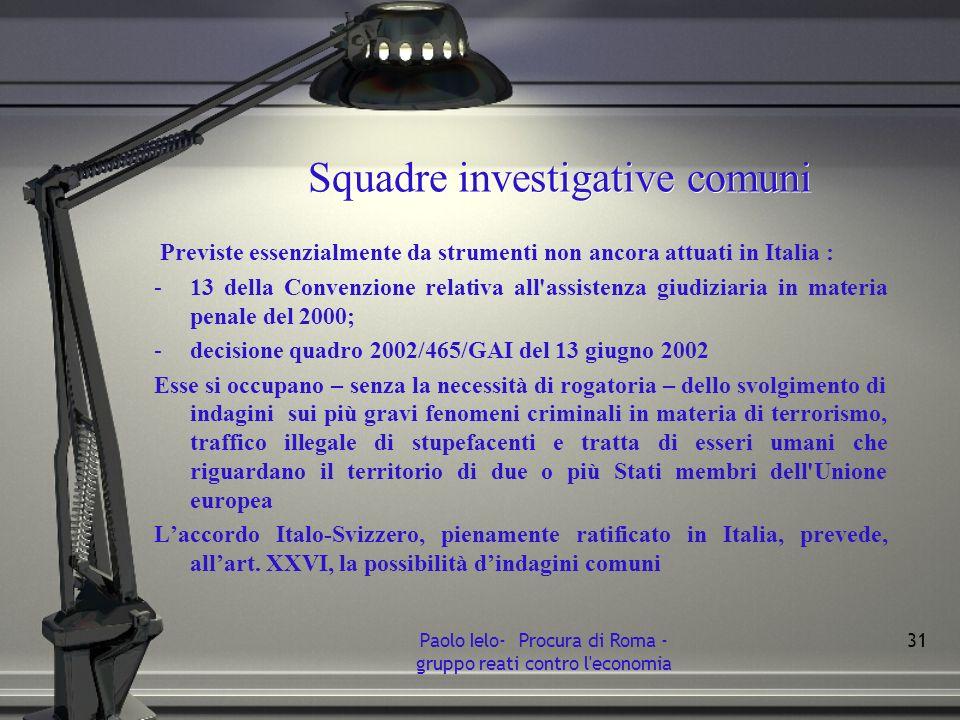 Squadre investigative comuni Previste essenzialmente da strumenti non ancora attuati in Italia : -13 della Convenzione relativa all'assistenza giudizi