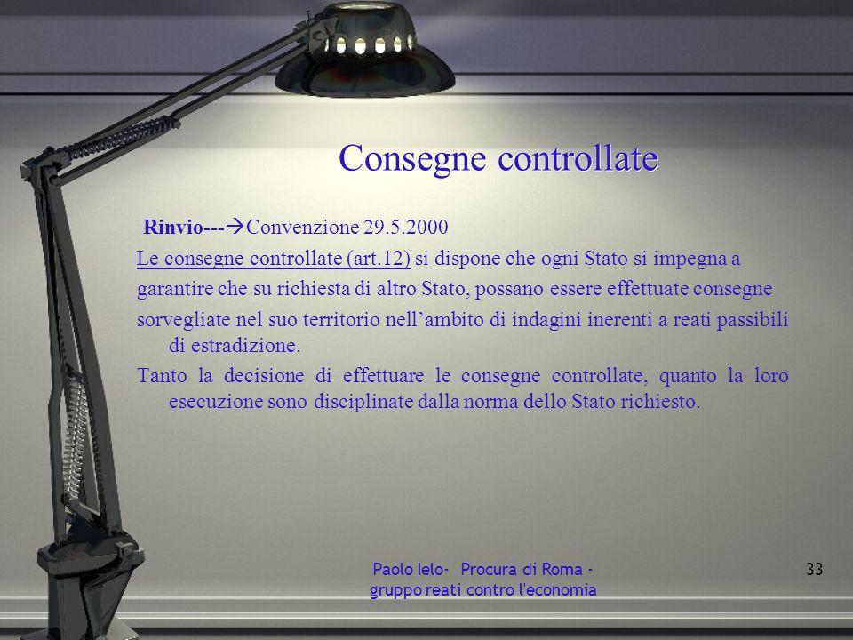 Consegne controllate Rinvio--- Convenzione 29.5.2000 Le consegne controllate (art.12) si dispone che ogni Stato si impegna a garantire che su richiest