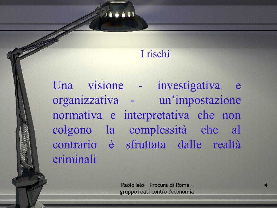 I rischi Una visione - investigativa e organizzativa - unimpostazione normativa e interpretativa che non colgono la complessità che al contrario è sfr