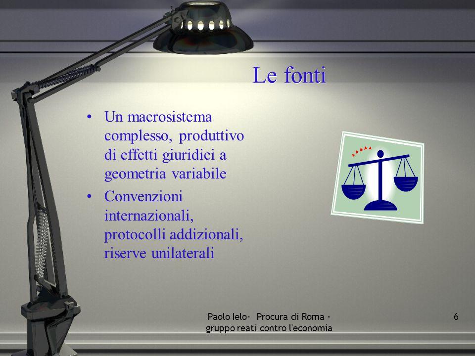 Le fonti Un macrosistema complesso, produttivo di effetti giuridici a geometria variabile Convenzioni internazionali, protocolli addizionali, riserve